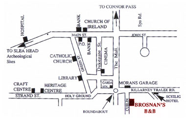 Brosnan's Accommodation Location Map